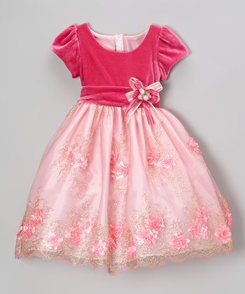 Pink Rosette Embroidered Dress - Infant, Toddler & Girls