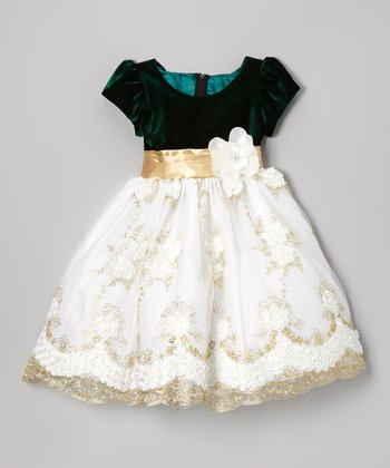 Black & White Rosette Embroidered Dress - Infant, Toddler & Girls