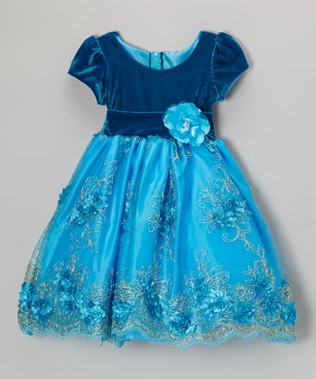 Blue Rosette Embroidered Dress - Infant, Toddler & Girls