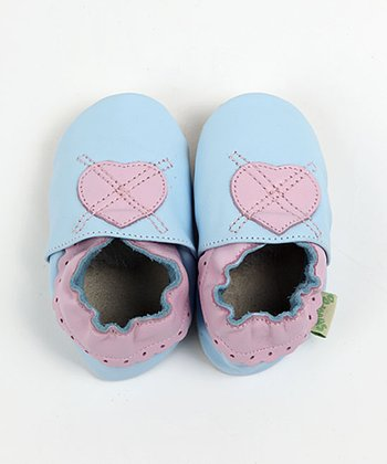 Light Blue Heart Soft Sole Shoes
