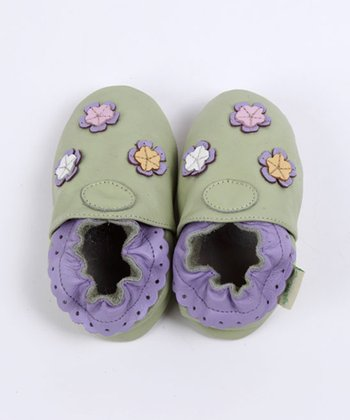 ShooFoo - Green Multi-Flower Soft Sole Shoes
