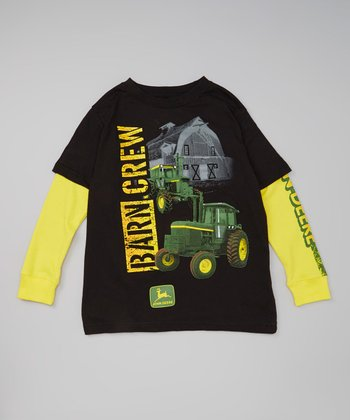 Black & Yellow 'Barn Crew' Layered Tee & Tractor Toy - Boys