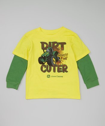 Yellow & Green 'Cuter' Layered Tee & Tractor Toy - Toddler