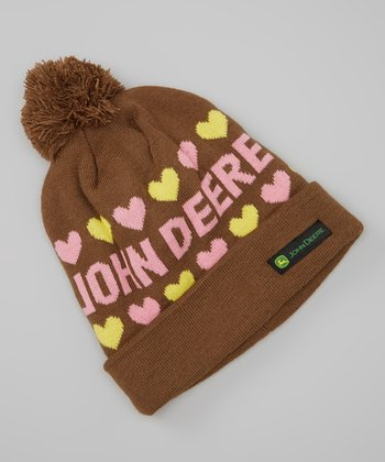 Brown Hearts Pom-Pom Beanie