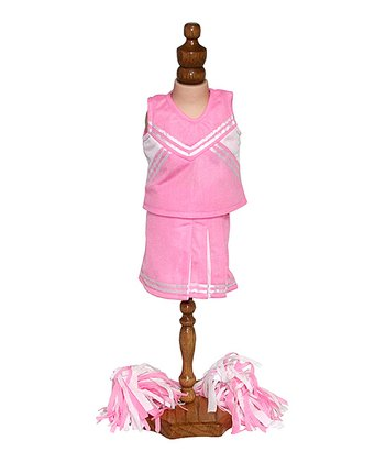 Pink & White Doll Cheerleader Outfit