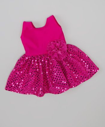 Fuchsia Sparkle Doll Dress
