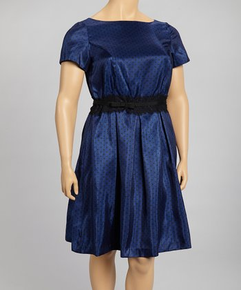 Ink Black & Blue Polka Dot Dress - Plus