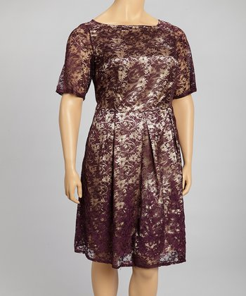 Eggplant & Gold Dress - Plus