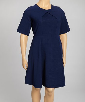 Dark Twilight Inverted Surplice Dress - Plus