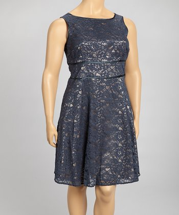 Steel & Champagne Dress - Plus