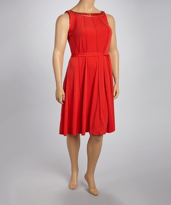 Poppy Red Embellished Dress - Plus