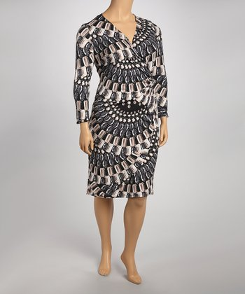 Black & Beige Graphic Dress - Plus