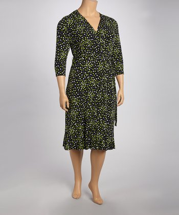 Black & Lime Surplice Dress - Plus