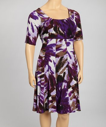 Violet & Brown Dress - Plus