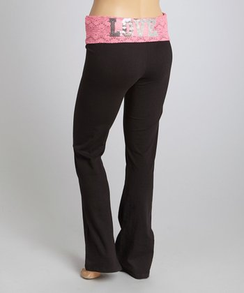 Black & Pink 'Love' Yoga Pants - Plus