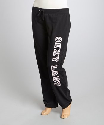 Black 'Sexy Lady' Lounge Pants - Plus