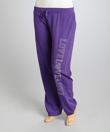 Purple 'Love Love Love' Lounge Pants - Plus