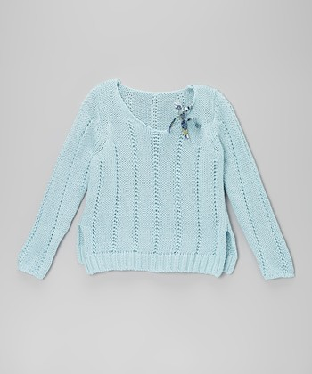 Light Blue Bow Knit Sweater - Girls