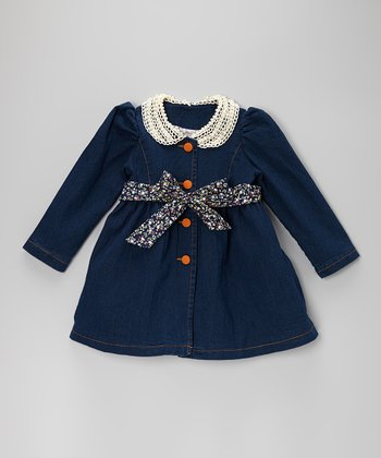 Navy Denim Lace Belted Dress - Toddler & Girls