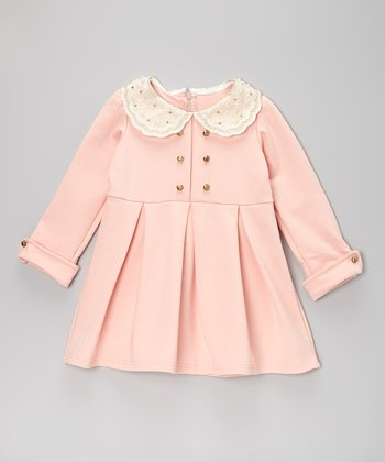 Light Pink Lace Collar Pleated Dress - Toddler & Girls