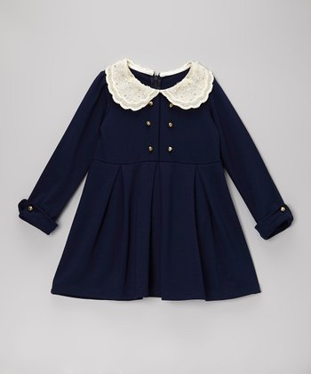 Navy Lace Collar Pleated Dress - Toddler & Girls