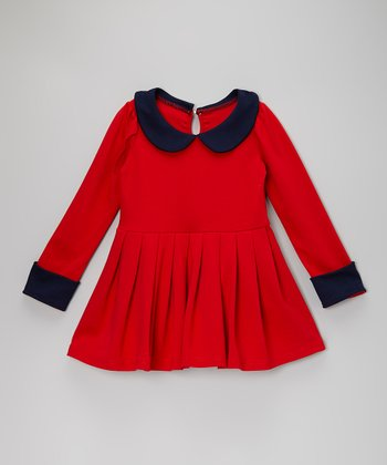 Red & Navy Pleated Dress - Toddler & Girls
