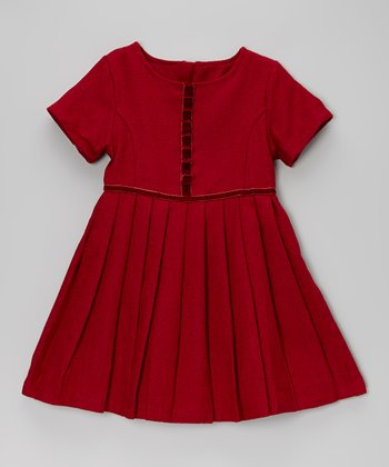Red Pleated Short-Sleeve Dress - Toddler & Girls