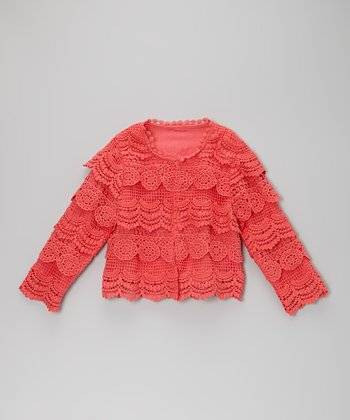 Coral Crocheted Ruffle Cardigan - Toddler & Girls