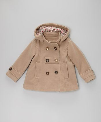 Tan Peacoat - Toddler & Girls