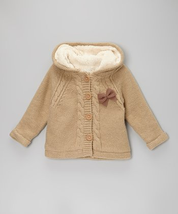 Tan Hooded Cardigan - Toddler & Girls