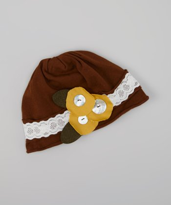 Brown & Olive Lace Flower Beanie