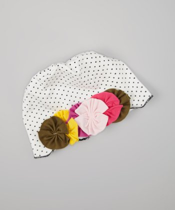 White & Pink Polka Dot Flower Beanie