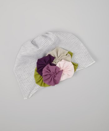 Gray Stripe Flower Beanie