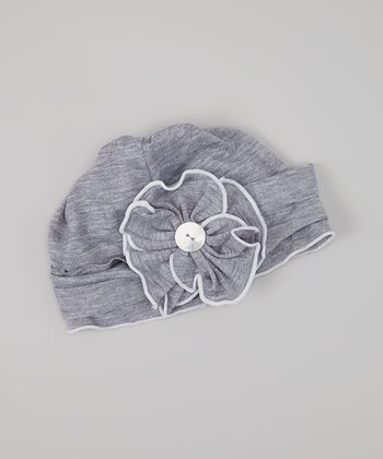 Dark Gray Flower Beanie