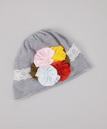 Light Gray & White Stripe Flower Beanie