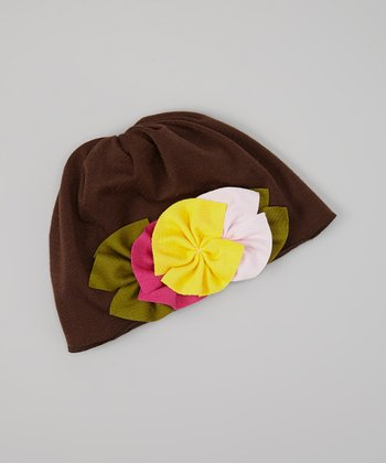 Brown & Yellow Flower Beanie