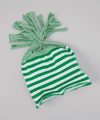 Green & White Stripe Beanie