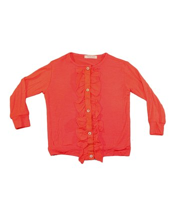 Coral Ruffle Cardigan - Toddler & Girls
