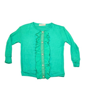 Green Ruffle Cardigan - Toddler & Girls