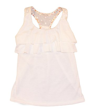 Ivory Ruffle Racerback Tank - Toddler & Girls