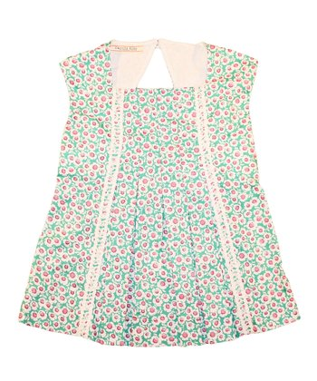 Blue & Pink Floral Pleated Top - Toddler