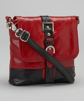 Latico Leather Red & Black Buckle Crossbody Bag