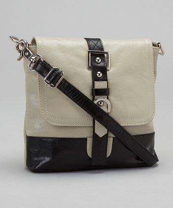 Latico Leather Putty & Black Buckle Crossbody Bag