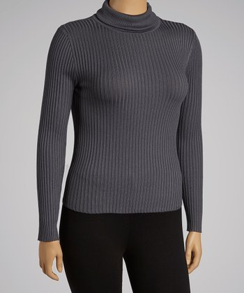 Charcoal Turtleneck - Plus