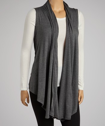 Charcoal Ribbed Open Vest - Plus