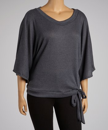 Charcoal Side-Tie Cape-Sleeve Top - Plus