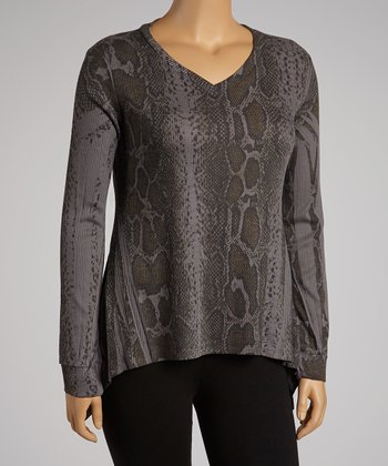 Charcoal Snakeskin Top - Plus