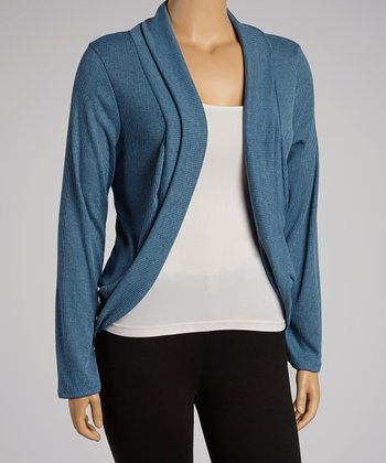 Heather Blue Long-Sleeve Open Cardigan - Plus
