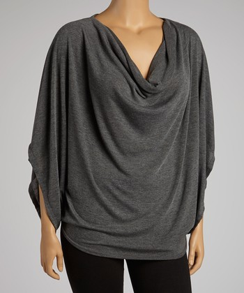 Heather Charcoal Cowl Neck Top - Plus