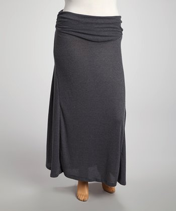 Heather Charcoal Maxi Skirt - Plus